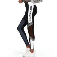 Wholesale Love Pants Wholesalers - Love Pink Letter Print Leggings Women Fitness Sport Workout Yoga Jogging Tights Mesh Patchwork Gym Athletic Sweatpants Pants Sportswear