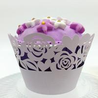 favores de la torta de la taza al por mayor-Favores de la boda rosa Corte con láser Taza de encaje Envoltura de la torta Envolturas de la magdalena para la boda Decoración de la fiesta de cumpleaños 12 pc por lote