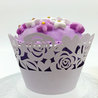 Wholesale Cupcake Wrappers Wholesale - wedding favors rose Laser cut Lace Cup Cake Wrapper Cupcake Wrappers For Wedding Birthday Party Decoration 12pc per lot