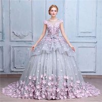 Wholesale Romantic Country - Vintage Country Romantic Ball Gown Wedding Dresses 2017 Jewel Neck Cap Sleeve Lace Grey And Pink Flowers Wedding Gowns 100% Same