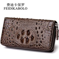 Wholesale Interior Alligator Crocodile - FEIDIKABOLO 3D Embossing Alligator Fashion Crocodile Long Clutch Wallets men Double zipper Leather Men's Purse Business Carteras