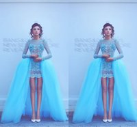 Wholesale Nude Sequin Mini Dress - Sexy New Formal Long Evening Dresses 2017 Said Mhamad Blue Bateau Neck Crystals Rhinestone Mini Short Sheer Prom Dresses with Overskirts