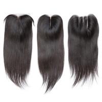 Wholesale Free Hair Bleach - Straight Lace Closure Bleached Knots Brazilian Straight Human Hair Closure Free Middle 3 Part 100% Human Hair