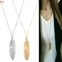 Wholesale Long Chain Feather Necklace - Fashion Womens Feather Pendant Necklace Vintage Long Chain Necklace Jewelry Silver Gold Plated Sweater Chain Statement Jewelry LPQ001276
