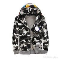 Wholesale Men Hoodi - Fashion Brand Camouflage Men's Hoodies Luminous Windbreaker Fashion Cardigan Leisure Coat Popular Brand Plus Cashmere High Qualiy Hoodi