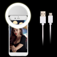 Wholesale Usb Bulb Lamp Battery - USB Rechargeable Mobile Phone LED Ring Selfie Light Fill Light Supplementary Lighting Camera Photography AAA Battery Lights all Smart Phones