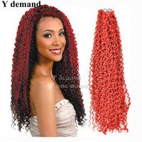 """Wholesale Red Synthetic Hair Extensions - Newest 18"""" 90G Fashion Kanekalon Water Wave Hair Kinky Curly Synthetic Braiding Crochet Hair Extensions Y demand"""