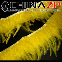 Wholesale Gold Manufacturer CHINAZP Crafts Factory Price for Per Yard Top Quality Dyed Yellow Rooster Saddle Feathers Trim