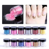 Wholesale Sequins Nail Polish - 12Bottle Set 10g Sequins Dust Glitter UV Gel Polish Nail Art Tips Acrylic Powder For Decoration Nail Glitter