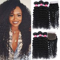Wholesale Human Hair Weave Brands - Rainbow Queen Brand Deep Wave With Lace Closure 100% Brazilian Hair Bundles Deep Wave Human Hair Weave Unprocessed Hair Brazilian Extensions