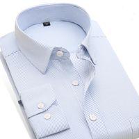 официальная одежда мужчины длинный рукав оптовых-Wholesale- Striped Shirt Men's Slim Fit Dress Shirts Long Sleeve Men's Office/Work Wear Clothes Men's Formal Business Shirts  Clothes