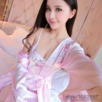 Wholesale Home Sexy Woman Robe - Wholesale- 2017 Spring Summer Fall Women Silk Nightdress 2 pcs Set of Robe & Nightgown Lady Sexy Lace Home Dress Female Homewear Plus Size