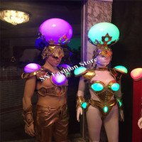 Wholesale Mens Bras - DS01 RGB light ballroom dance led costumes women stage sexy bra dj singer bar colorful mens wears clothes models performance