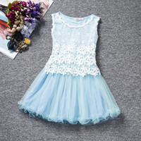 Wholesale Lace Knee Length Ruffle Layer - Girls solid color double layer embroidery Lace tutu dress kids flower princess vest dress sleeveless skirt for 3-10T