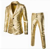 Wholesale Color Plus Formal Man Dress - 2 Pcs Mens Gold Bling Suits Blazer Bar Coat Jacket Tops&Pant Set Trousers Dress Formal Sliver Black Plus Size New Glitter 3Colors