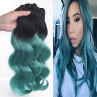Wholesale Bleached Curly Weave - Indian Dark Root Ombre Hair Extensions 3 bundles #1B GREEN Ombre Human Hair Two Tone Body Wave Hair Weft
