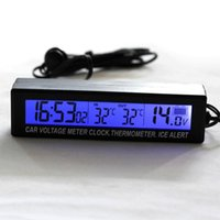 Vente en gros- Nouveau 3 in1 Car Auto LCD Digital Clock Thermomètre Temperature Voltage Meter Monitor Hot