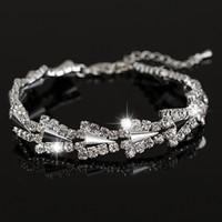 Wholesale rivet brass - 2017 New hot sell gold   silver plated Austrian crystal brand jewelry the rivet rhinestone bracelet women Jewellry