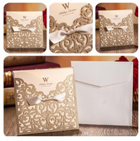 Wholesale Wedding Invitation Purple Gold - Gold wedding invitations custom invitations romantic personality wedding invitation wedding cards designs via DHL free shipping in low price