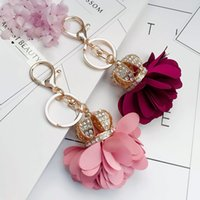 Wholesale Key Chain Crown - Fashion Gems Floral Rose Crown keychian For Girls 2017 Creative Metal Flowers Key Chains Beautiful Key Accessories Free Shipping