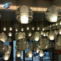 Wholesale Pendant Light Modern Ball - LED Crystal Glass Ball Pendant Lamp Meteor Rain Meteoric Shower Stair Bar Droplight Chandelier Lighting AC110-240V