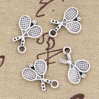 Wholesale Tennis Racket Charm Necklace - Wholesale-99Cents 12pcs Charms tennis racket 18*14mm Antique Making pendant fit,Vintage Tibetan Silver,DIY bracelet necklace
