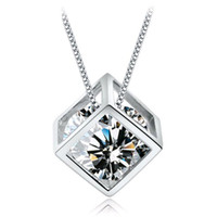 Wholesale Zircon Crystals For Sale - 2016 New Hot sale Fashion Silver Transparant Zircon Necklaces & Dazzling Crystal Square Pendant Necklace For Women Charm Jewelry
