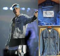 Wholesale Denim Jean Jacket Coat - Wholesale- 2016 New Arrival hiphop brand clothing men torn jackets coat kanye west justin bieber fear of god jean denim jacket label