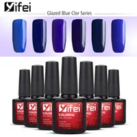 esmaltes uv al por mayor-YIFEI 10ML Nail Gel Polaco UV Gel de uñas Gel Lak Lacquer Gel Barnizado Gelpolish Vernis Semi Permanente Glazed Blue Color Series 6pcs