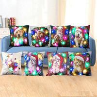 Wholesale satin pillowcases wholesale - Hot Sale Christmas theme Pillowcase Satin Pillowslip Double Color Sofa Sequins Cushion Decorative Pillow Cover IB277