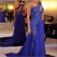 Wholesale One Piece Club Wear - Free Shipping Elegant A-Line Evening Dresses 2017 One-Shoulder Chiffon Applique Beading Split Sweep Train Formal Prom Gowns
