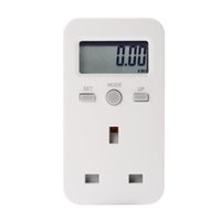 Wholesale Energy Monitor Uk - LCD Digital Plug-in Power Meter Energy Monitor Electricity Usage Monitoring Analyzer Socket UK Plug BI680-SZ