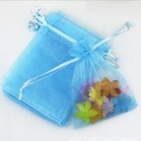 sacos de céu azul moda venda por atacado-Sacos de presente de cordão de organza 13 * 18 cm jóias gaze bolsa de presente céu azul sacos de moda DHL grátis jóias embalagem presente de Natal