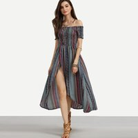 Wholesale Strip Chiffon - 2017 women's bohemian printing dress multicolor strip print high split sexy long dress slash neck boho holiday dresses vestidos