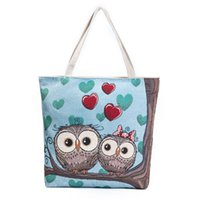 Wholesale 2017 cross border owl embroidery women handbags female canvas single shoulder bags cute animal print tote shopping bags