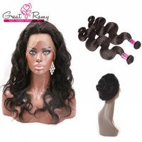 Wholesale Human Hair Lace Wig Weave - 360 Lace Frontal 22*4*2 Body Wave Brazilian Hair Weave Closure 2pcs Adjustable Full Lace Human Hair Wigs Greatremy Free Part Middle 3 Part