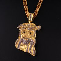 Wholesale Jesus Head Jewelry - Crystal diamond JESUS hiphop necklace gold silver diamond head portrait pendants rock hip hop necklaces punk statement jewelry 160765