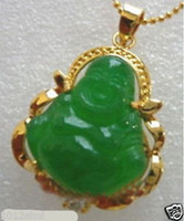 Wholesale Silver Jade Buddha Pendants - New green jade Gold Plated buddha pendant necklace +free Chain