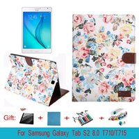 Wholesale S2 Case Ups - For Samsung Galaxy Tab S2 8.0 Book Flip Folio PU Leather Stand Cover for Samsung Tab S2 SM-T710 715 Sleep Wake Up Functio