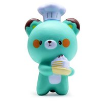 Barato Miúdos Boneca Macia-Kawaii Cute Chef Bear Soft Cartoon Doll Squeeze Squishy Slow Rising Decompression Pressão Alívio Presente Brinquedo Kids Toy Squishy Bread KKA3300