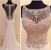 Wholesale Transparent Dress Bling - New Real Image Gorgeous Beads Sheath Evening Dress Chiffon Crystal Transparent Long Prom Gown Custom Made Bling Bling Sparkly Runway Fashion