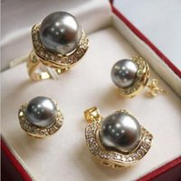 Wholesale South Sea Pearls Rings - 1Set AAA 2017 10mm &14mm gray South sea Shell Pearl Earrings Necklace Ring Set No box