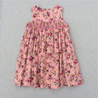 Wholesale New Model Dresses For Kids - Girls Flower Dresses For Girl New Model Cute Baby Girls Party Princess Korean Children Dresses Kids Flower Print Dress 2017 Summer