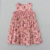 ingrosso vestito carino coreano nuovo-Ragazze Flower Dresses For Girl Nuovo modello Cute Baby Girls Partito principessa coreano bambini Abiti bambini Flower Print Dress 2017 Estate