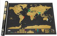 Wholesale Cylinder Toy - Deluxe Scratch World Map 82.5x59.4cm Black Background Foil Cover With Delicate Cylinder Packaging Creative DIY Gift Education Learning Toys