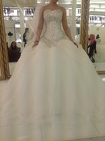 Wholesale Gorgeous Sweetheart Bling - Wedding Dresses with Bling Crystal Beading Sweetheart Back Corset Pleated Floor Length Ball Gown Gorgeous Bridal Gowns