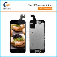 Wholesale Iphone Home Button Complete - For iPhone 5C LCD Screen Assembly with Touch Screen Digitizer Full Assembly Display+Home Button+Front Camera Complete Black&White