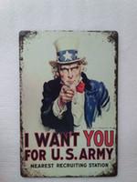 estaciones de bar al por mayor-Te quiero para el Ejército de los EE. UU. Estación de reclutamiento más cercana Vintage hogar Bar Pub Hotel Restaurante Cafetería hogar Decorativo Metal Retro Cartel de chapa