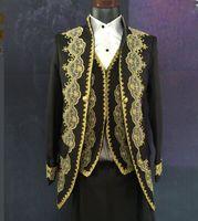 Wholesale Trouser Dress Sequin - Suit Brand Skinny Jacket Pants Vest Male Formal Dress Royal Suits Blazer Trousers Fashion Slim Wedding Prom Dresses Clothing Set