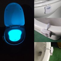 Wholesale Changing Color Battery Lights - 8 Colors Color Changing LED Toilet Night Lights UV Motion Activated Light PIR Sensor Light Battery-operated Lamp